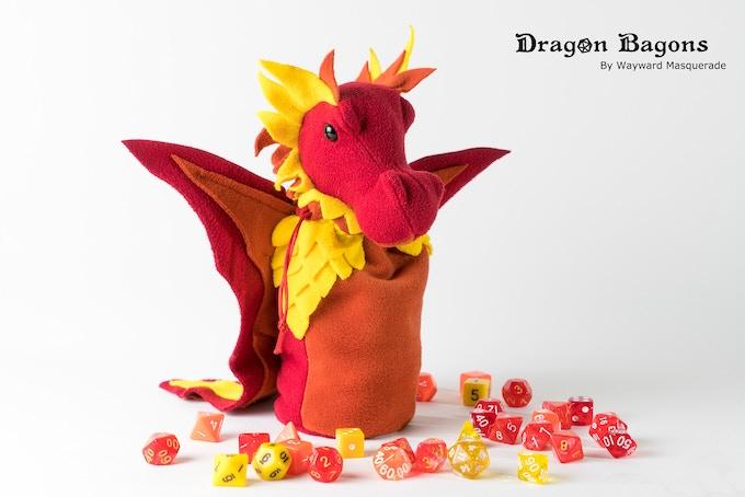 A raspberry, paprika, and sun yellow custom colour Dragon Bagon