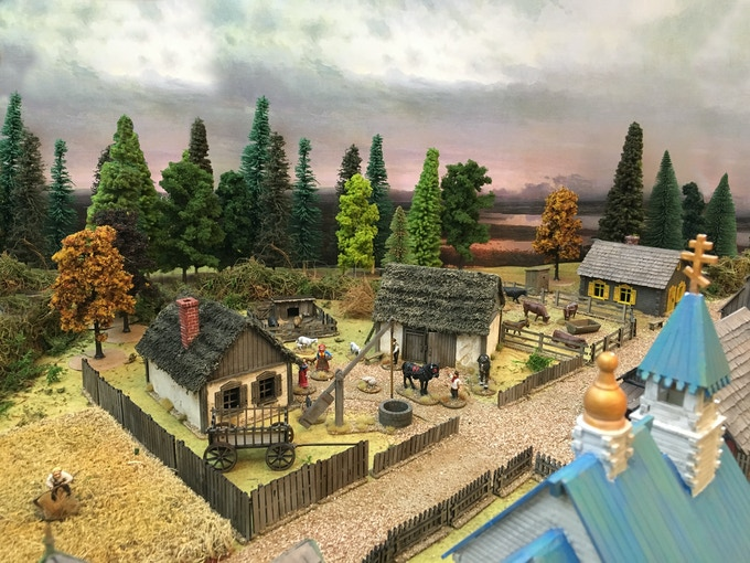 Russian Village 28 mm, painted and decorated