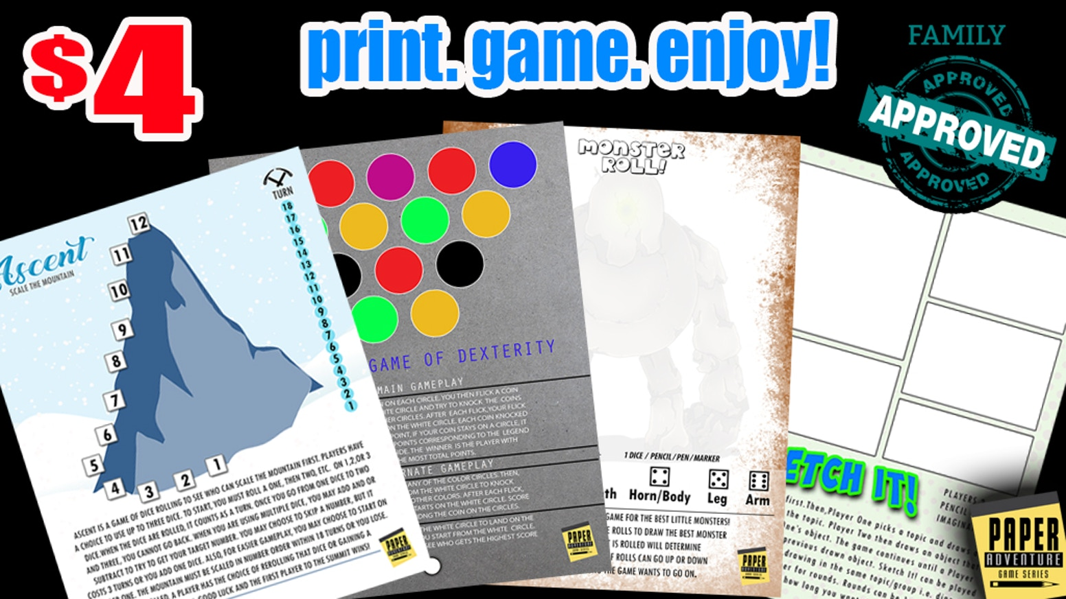 Paper Adventure: A FUN way for the whole family to game! by Argent