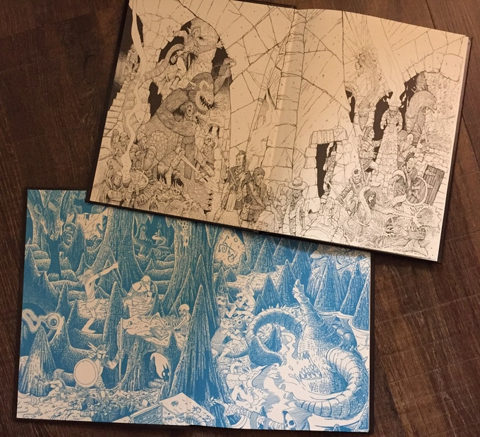 Various endsheet images: the 1st (blue) and 3rd printings