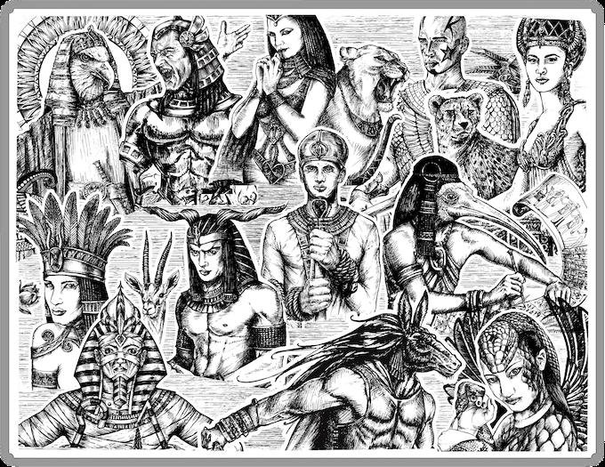 THE ORIGINAL DRAWINGS OF THE ARTIST ALINA VAGAPOVA \ THE GODS OF EGYPT