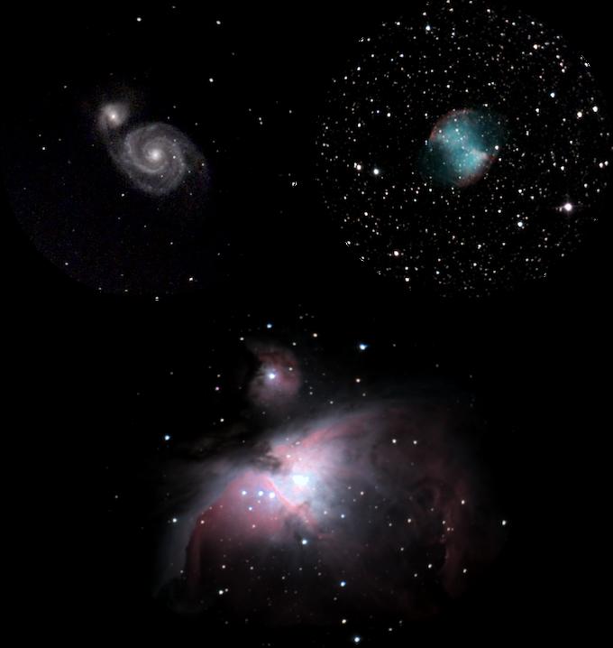 """M51 """"Whirlpool Galaxy"""", M27 """"Dumbbell Nebula"""" and M42 """"Orion Nebula"""""""