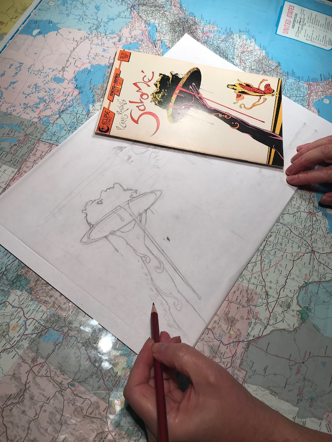 P. Craig Russell works on a sketch option for the Salome and Other Stories Sketch Edition