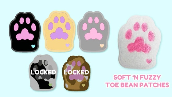 Soft n Fuzzy Toe Bean Patches! Chenille and Sticker Paws