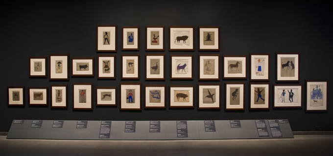 Installation view of 'Bill Traylor: Drawings from the Collections of the High Museum of Art and the Montgomery Museum of Fine Arts.' (Courtesy American Folk Art Museum)