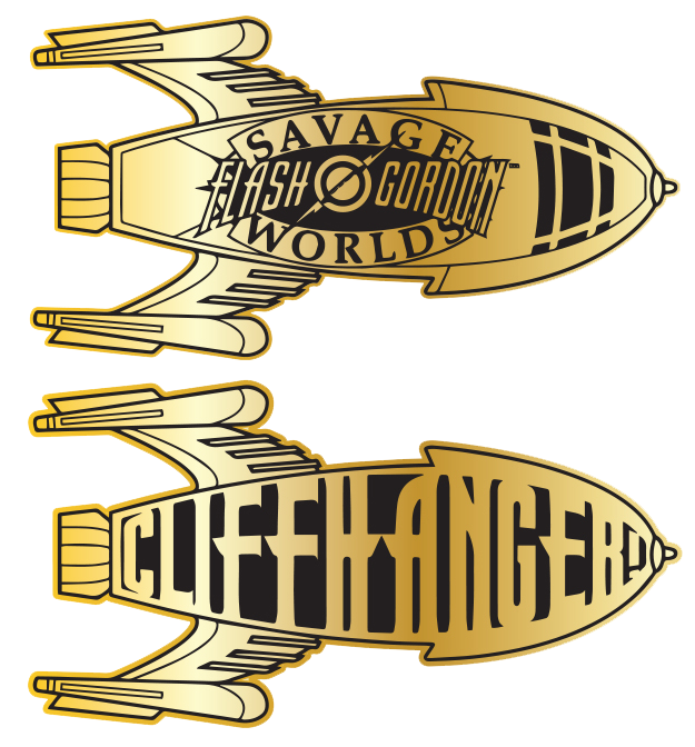 """This is the design for the 4"""" long, polished brass Cliffhanger token that comes *only* in the Kickstarter Limited Edition Collector's Box Set!"""