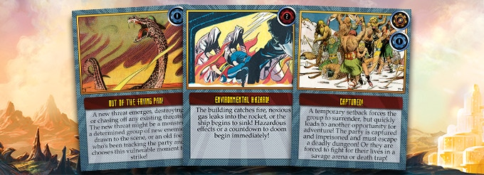 Three sample Cliffhanger cards...the symbols on the upper right tell the group what they get for taking on the Cliffhanger!