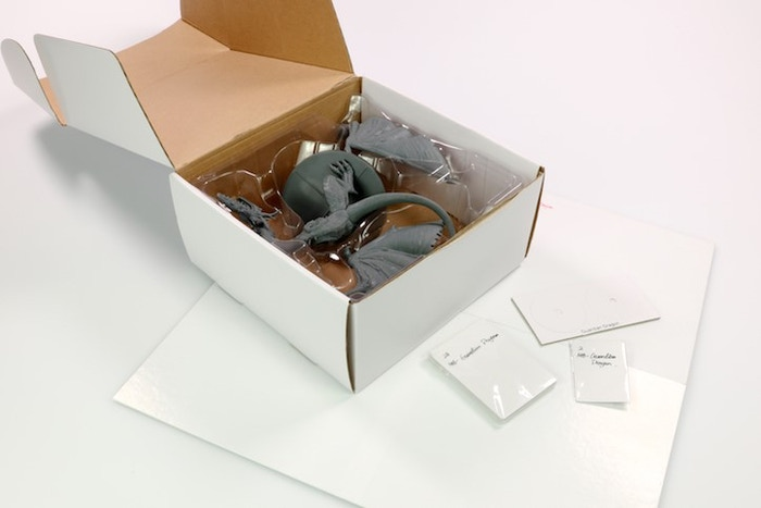 White Box Sample with main contents packed away.