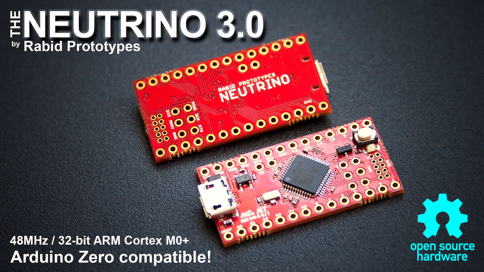 Featuring a 32-bit 48MHz ARM Cortex M0+ processor, the Neutrino 3.0 is fully compatible with the Arduino Zero!