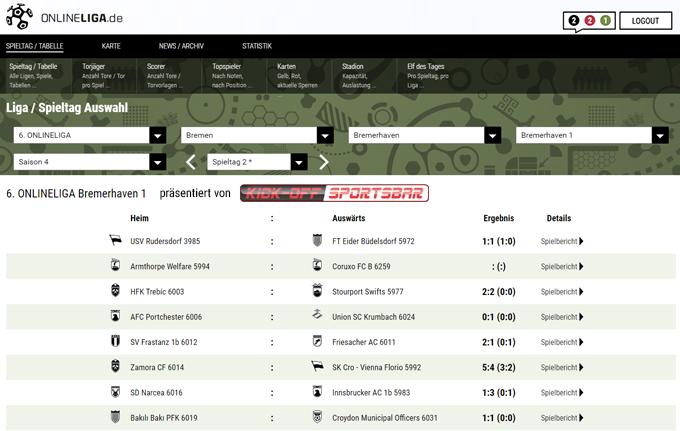 Die KickOff-Sportsbar präsentiert eine 6. Onlineliga Bremerhaven