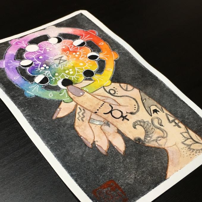 Original watercolor of Wheel of Fortune
