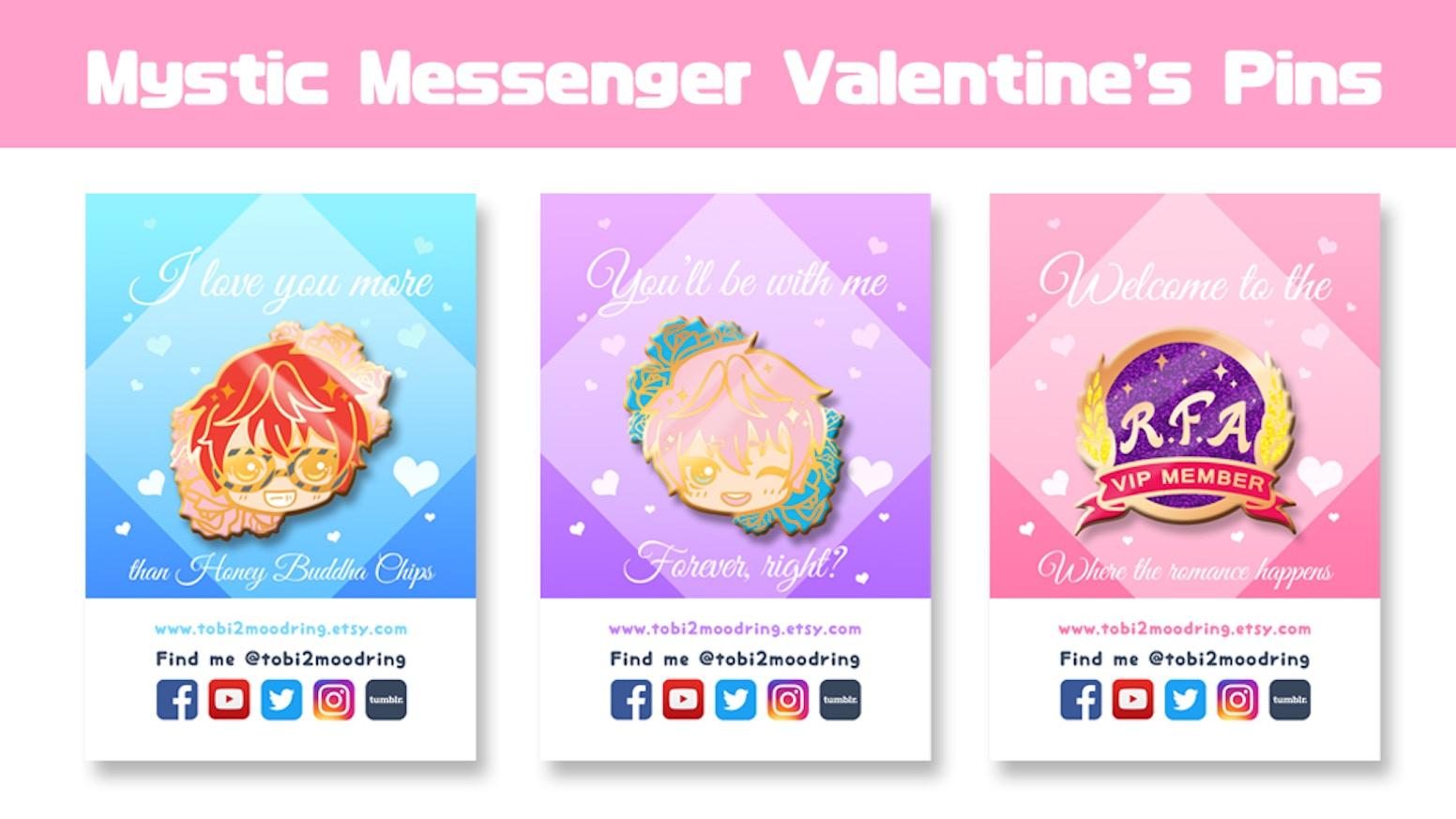 Mystic Messenger Valentine's Otaku & Anime Enamel Pins