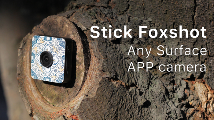 Foxshot, a small water-resistant camera that can be attached to any surface. Polychrome, Wearable, 1080P Magnetic with App Live Video.