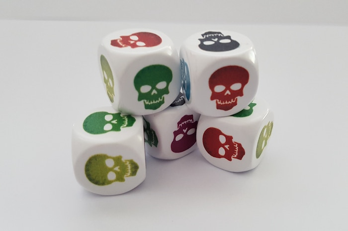 This is Skullice! Dice that will blow your mind! On these dice there are 6 skulls all in a different color.