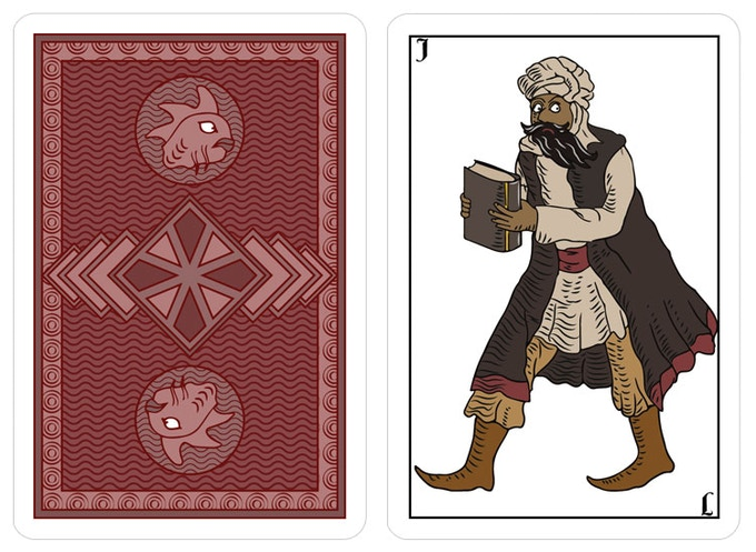 back and front (wild card, Abdul Alhazred), spanish deck
