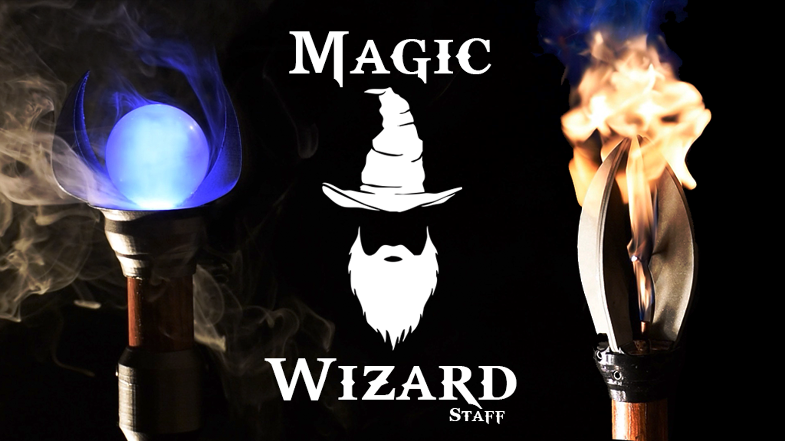 A wizard staff that actually does wizard things! Our staffs conjure light, fog, sparks, and flame!