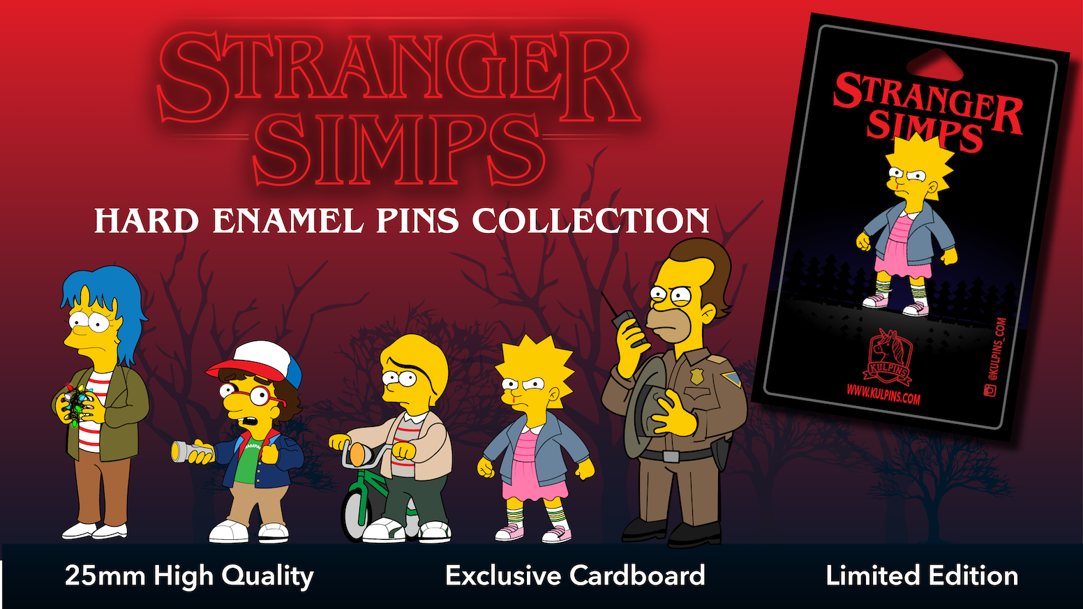 11fbd5c1f3 Amazing Collection of Hard Enamel Pins of The Simpsons and Stranger Things  characters together! High