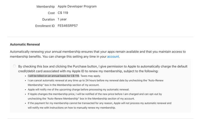 Cost of the Apple Developer program