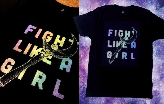 """Fight like a girl"" Screen printed split fountain hologram effect tshirt"