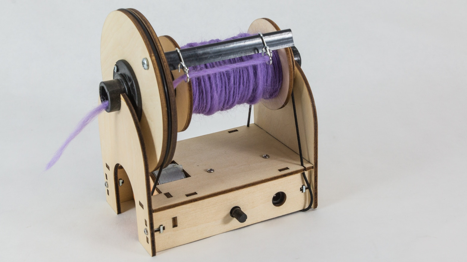 A $50 spinning wheel that makes spinning fiber into yarn easy. It is great for beginners or people who want a small spinning wheel.