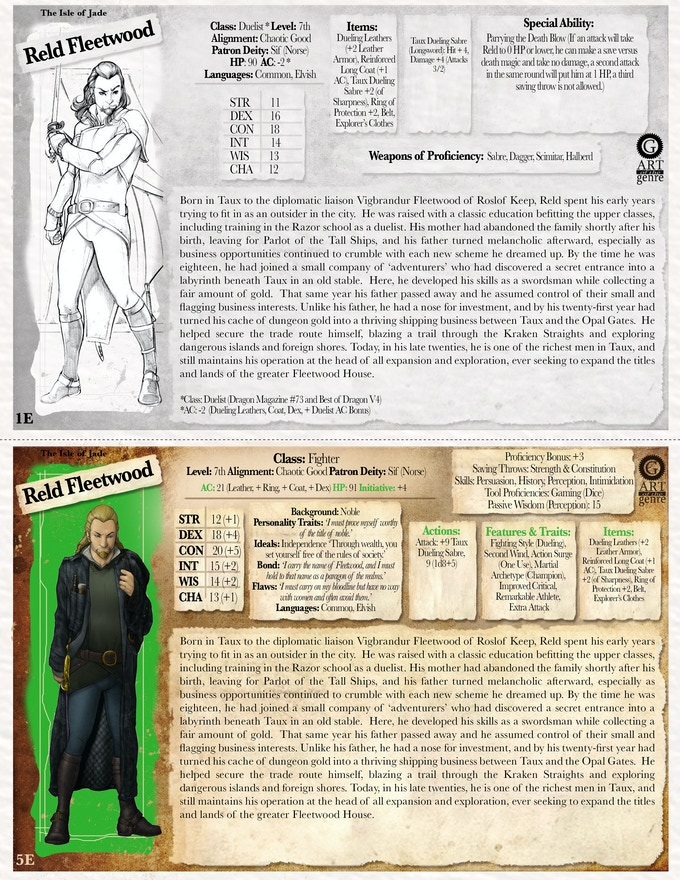 Add cool NPCs or pre-generated characters to your adventuring!