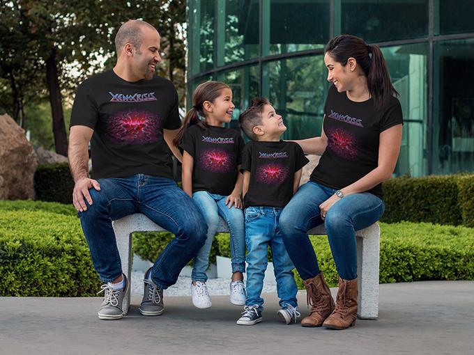 A family enjoying their Xeno Crisis t-shirts