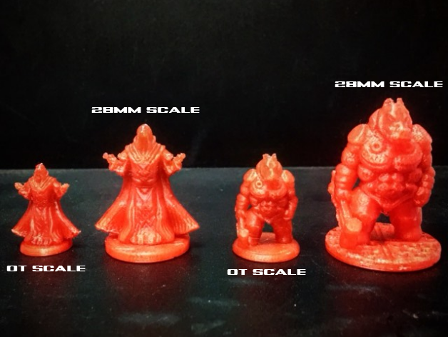 A couple of character models printed in OT and 28mm scales.