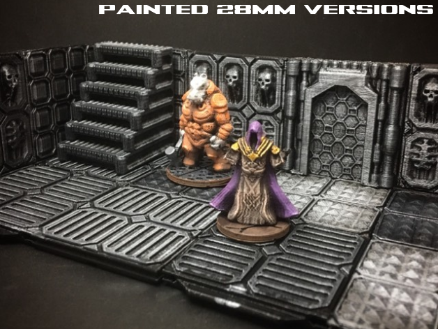 Models printed in 28mm scale and painted, shown with our Z.O.D. terrain tiles.