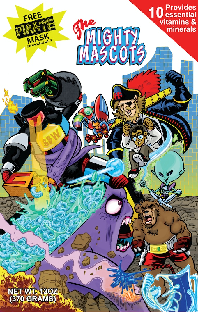 Mighty Mascot Cereal Box Cover by Frankie B. Washington