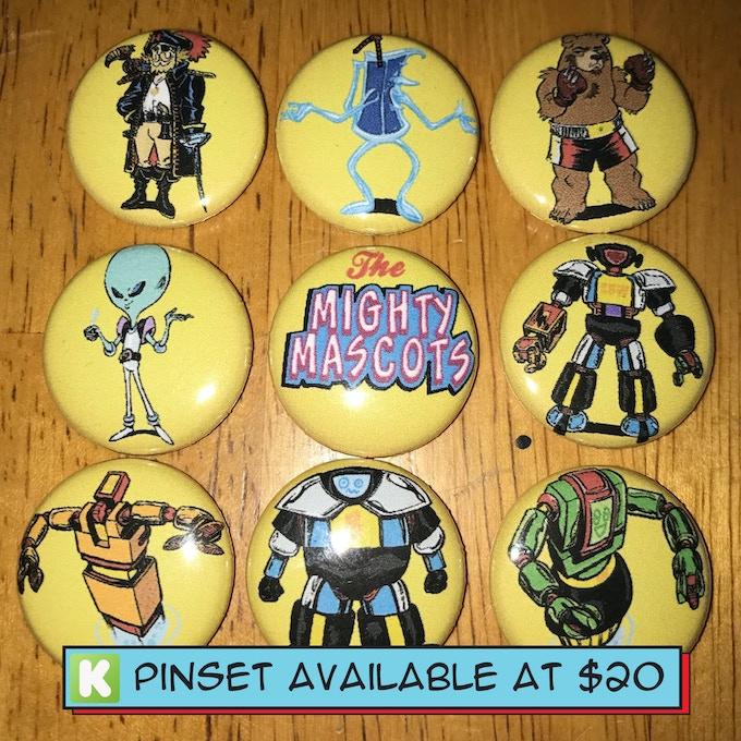 Mighty Mascots Pin Set!