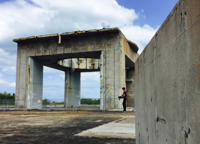 Our cinematographer, Kyle McConaghy, shooting amidst the ruins of Launch Complex 34, May 2017.