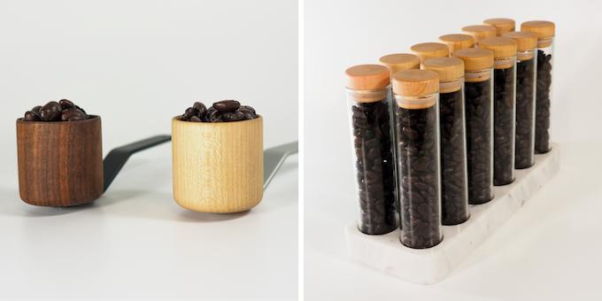Walnut/Maple Coffee Scoop; Bean Storage Set
