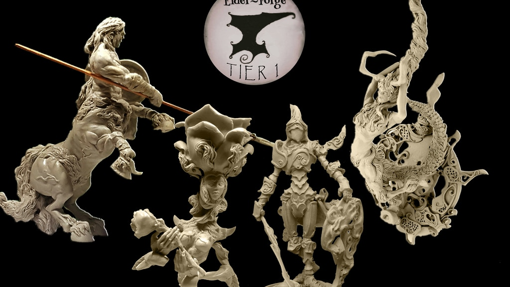 A collection of five resin kits by Elder-Forge, A limited edition of sculptures in different scales to assemble and paint!