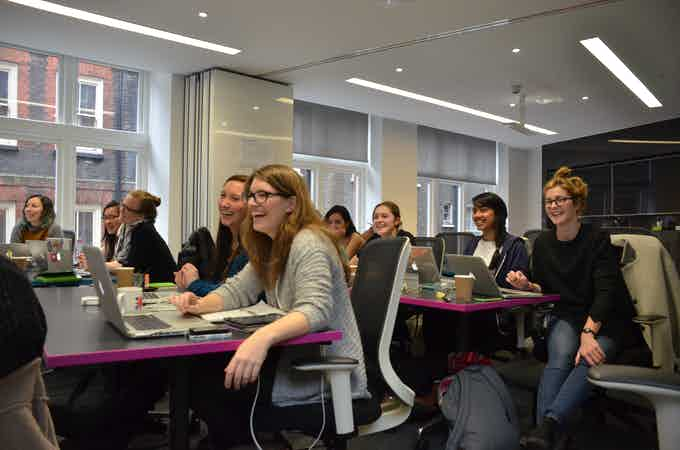 Some fantastic women attending a Code First: Girls Course