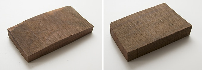 Milan wood keepsake #12 (left): 2.5 x 4.75 x .625 in. Milan wood keepsake #13 (right): 2.75 x 4.375 x .75 in.