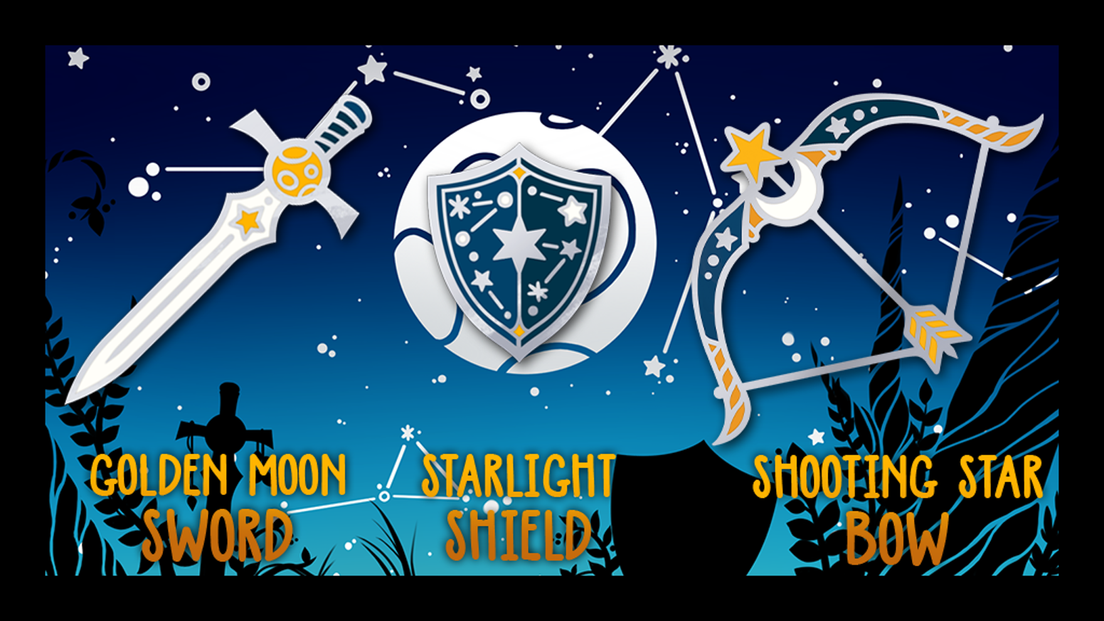 """An enamel pins set of a """"Stellar Armory"""", sword and shield and bow to be prepared for space battles!"""