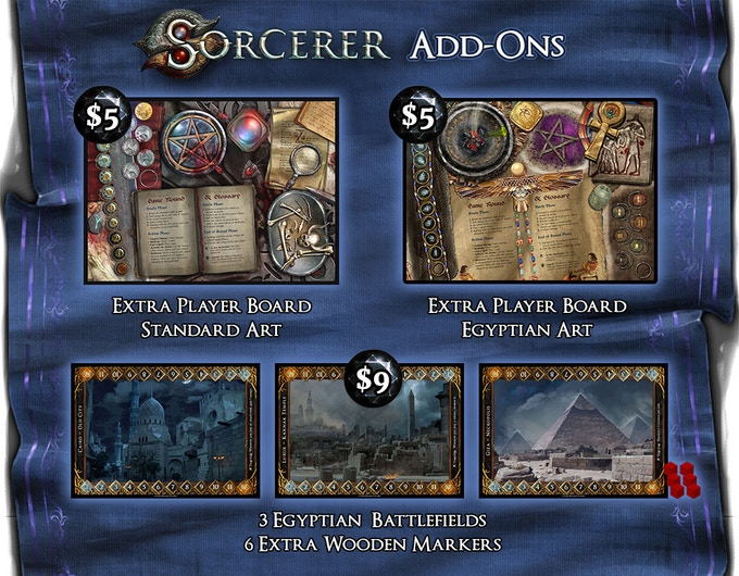 See Update #6 for more details and images of the extra Player Boards and Egyptian Battlefields.