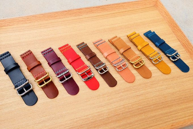 Left to Right, Navy, Medium Brown, Purple, Red, Dark Brown, Pink, Light Brown, Yellow, Blue