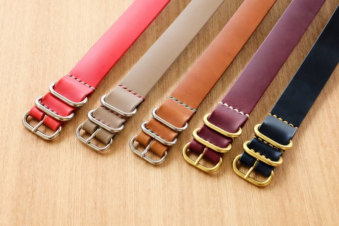 Contrast thread and leather straps