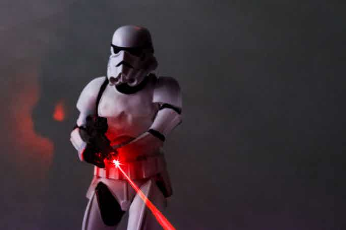 Laser arms used to simulate the weapons fire from the model stormtrooper.