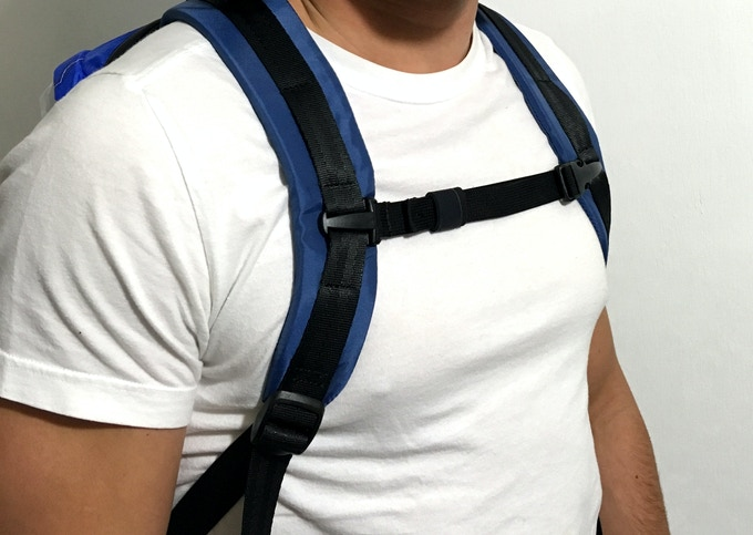 The Deluxe model comes with a high-quality adjustable adventure chest strap