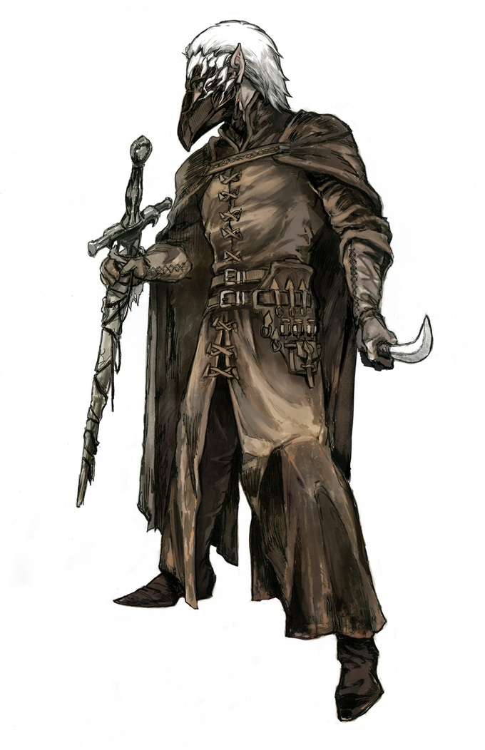 Alastair, the White Crow. Elven Plague Doctor, Penumbra's version of the Cleric. Art by Gyo.