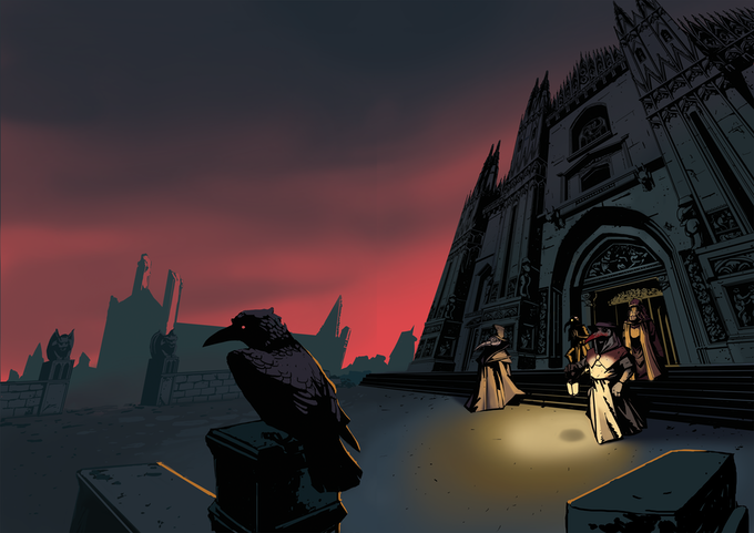 The Cathedral of Arckenbury. Players will be tasked with reaching this ancient fortress and entreating for asylum with the dread Murder of Crows. Art by Jovina Chagas.