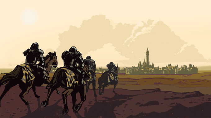 The Emperor's Knights approach Ostwald. Roaming bands of merciless knights are just one of the dangers in Penumbra. Art by Jovina Chagas.