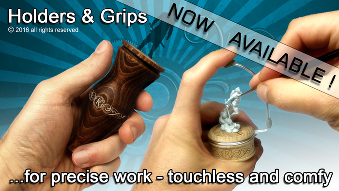 A smart holder system for painting and sculpting tabletop and board game miniatures - touchless, comfortable and much more precise.