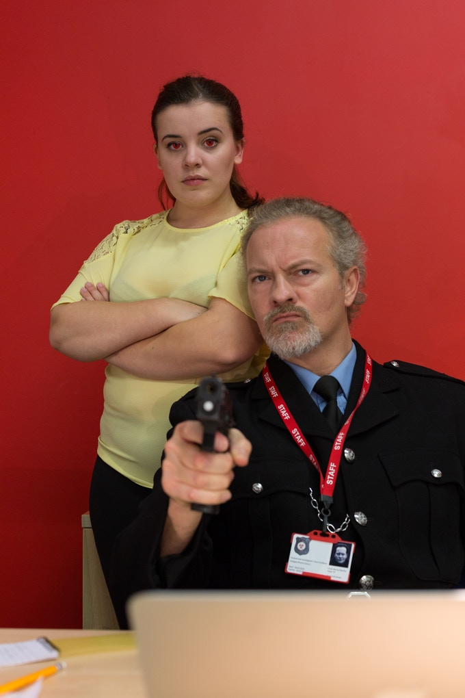 Wolfblood star Leona Kate Vaughan with Trainspotting 2 actor Simon Weir.