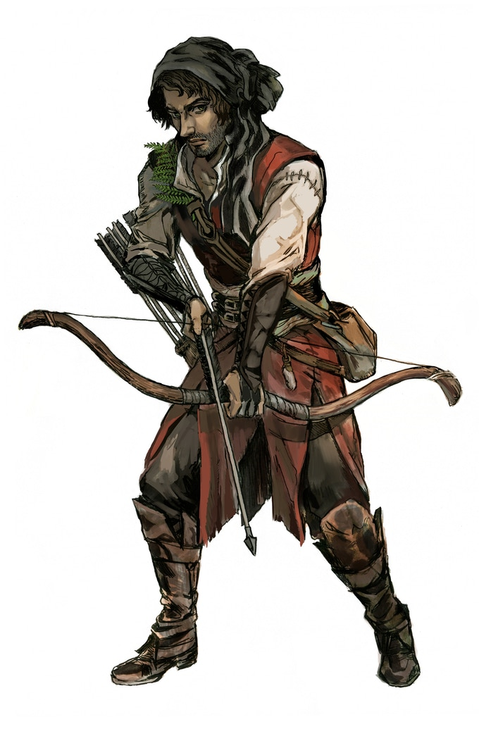 Tamarin, a Human Ranger. Most children are taught the art of warfare in their villages, and learn to wield a bow at a young age. Art by Gyo.