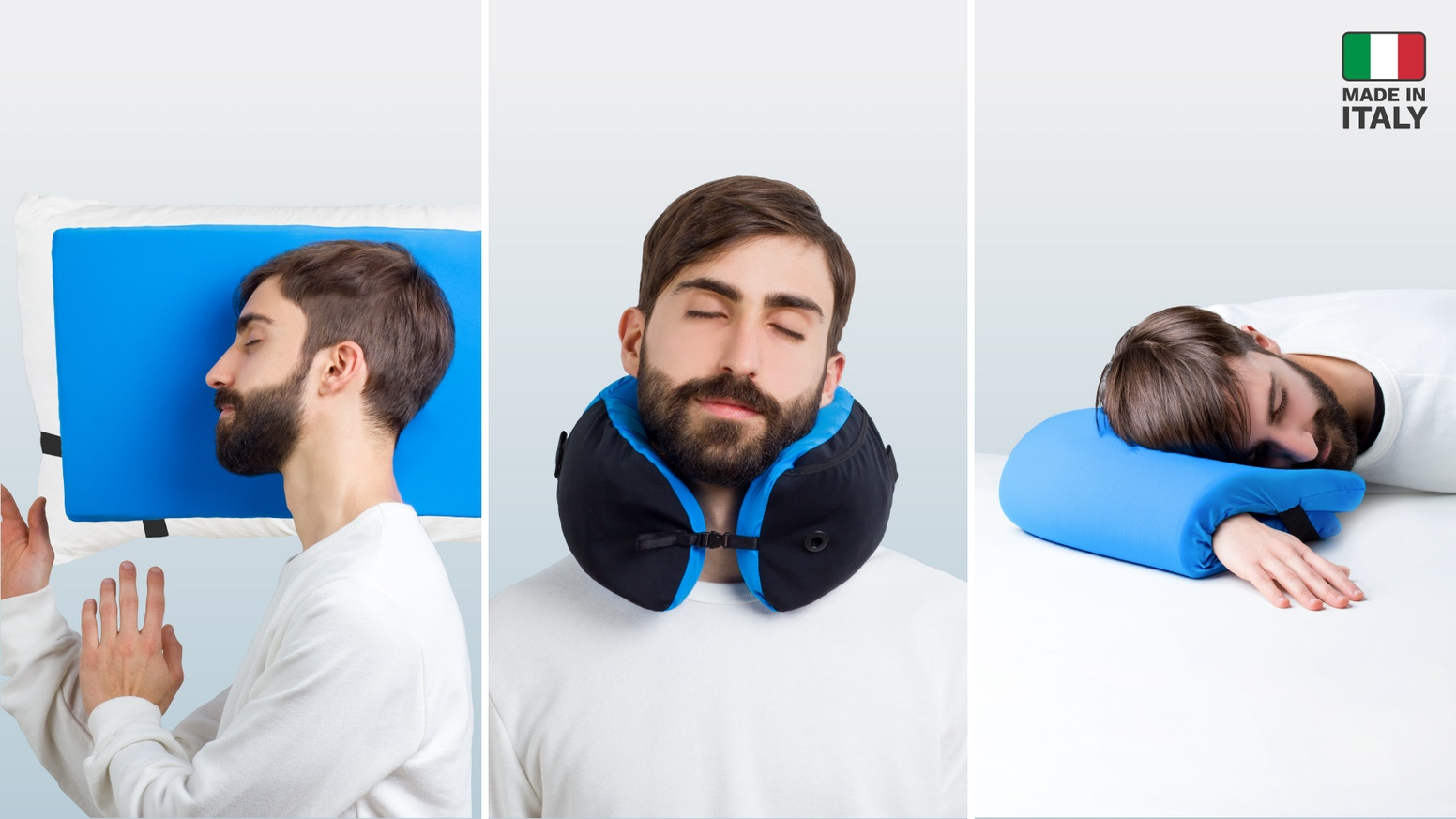3-in-1 ultra versatile memory foam travel pillow that delivers maximum comfort in any situation, and packs to the size of a mango