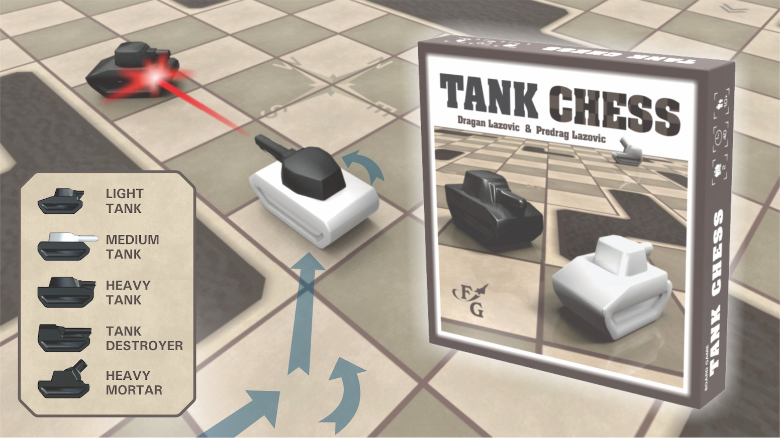Abstract, diceless, tank battle game for true thinkers and strategists. Fisher VS Patton, Zhukov VS Kasparov.