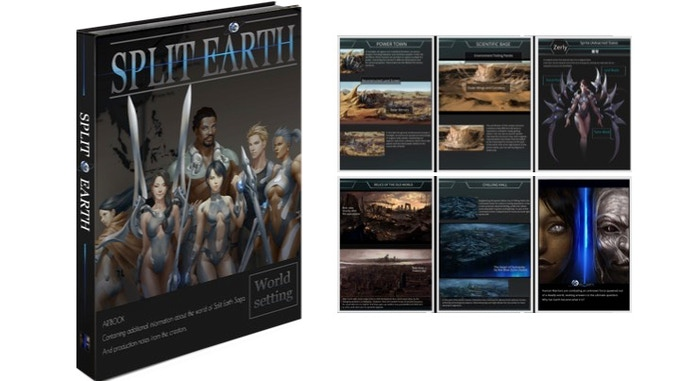 This elegantly designed artbook is about the world of Split Earth Saga, with the creators' development notes. It contains characters, geography, timeline, technology, monsters, and more. You'll also read about the artists' design philosophy.